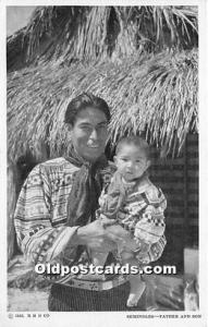 WHITE BORDER ERA (1915-1930) Seminole Indians, Florida USA Postcard Father an...