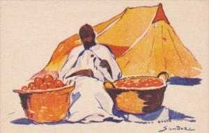 North Africa Local Fruit Seller Signed Sandoz