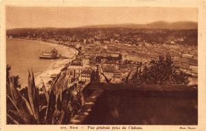 Vintage Sepia Postcard NICE General View from Castle FRANCE by Munier No. 205