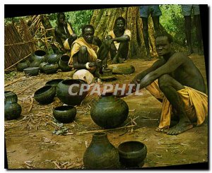 Postcard Modern Baro River Village szene showing the unusual pottery made in ...