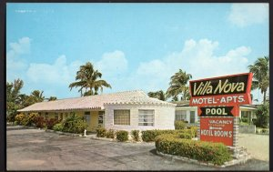 4420) Florida POMPANO BEACH Villa Nova Motel Apartments - pm1986 - Chrome