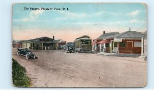Pleasant View RI Rhode Island Town Square Street View Vintage Postcard B08