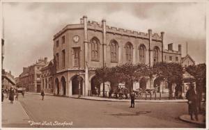 SLEAFORD LINCOLNSHIRE UK TOWN HALL-W K MORTON & SONS PHOTO POSTCARD 1910s