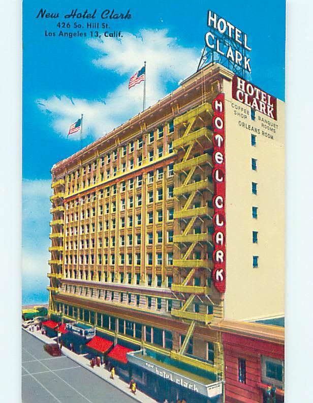 Unused 1950's OLD CARS & CLARK HOTEL Los Angeles California CA Q6006
