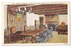 Old Fort Niagara Council Chamber French Castle NY Postcard