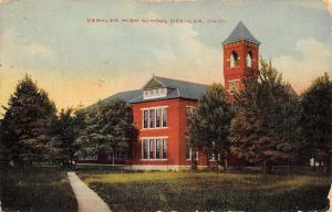 Deshler Ohio~High School~1913 Postcard