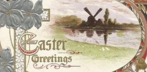 Windmill Reflected in Pond Easter Greetings Vintage Postcard Easter Greeting