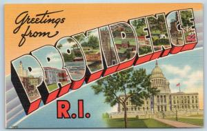 Postcard RI Large Letter Greetings From Providence Rhode Island Vintage #3 P7