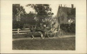 Possibly East Bethel ME Rural Mail Carrier Postman Horse Wagon RPPC c1910