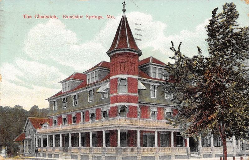 Excelsior Springs Missouri~The Chadwick Hotel~House Next Door~1909 Postcard