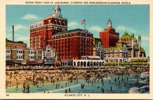 New Jersey Atlantic City Ocean Front View Of Shelbourne Claridge and Marlboro...