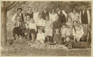 Social history early photo postcard people dated 1924 Baracka Slovakia Braväcovo