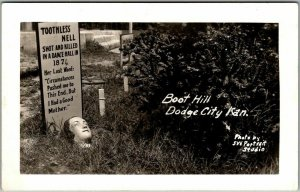 1930s Dodge City, Kansas Postcard Toothless Nell Grave Site BOOT HILL Cemetery