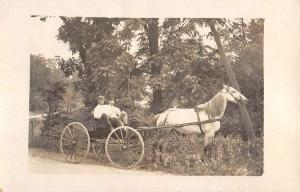 Men In Horse Carriage Wagon Real Photo Antique Postcard K90576