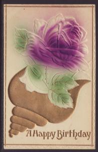 A Happy Birthday,Rose,Embossed Postcard