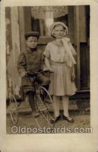 Chidren on Bicycles, tricycles postcard postcards