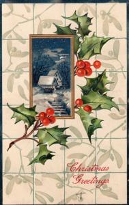 Christmas Greetings - 1920 Embossed Mistletoe 01.54