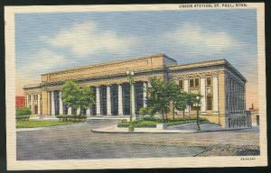 Union Railroad Station St Paul Minnesota Vintage Curteich Linen Postcard