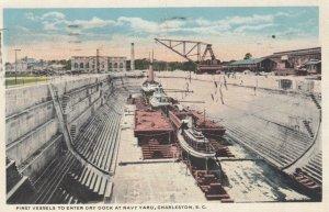 CHARLESTON, South Carolina, 1923; First Vessels Entering Dry Dock at Navy Yard