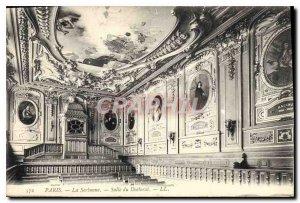 Postcard Old Hall Paris La Sorbonne Ph.D.