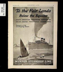 1920 Munson Steamship Line Fair Lands Below Equator Vintage Print ad 015335