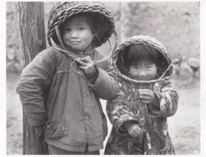 Chinese Children Wearing Basket Hats in China Republic AWARD Real Photo Postcard