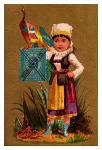 Suede &  Norvege  Stamp, Flag, Girl   Victorian Philatelic Trade Card