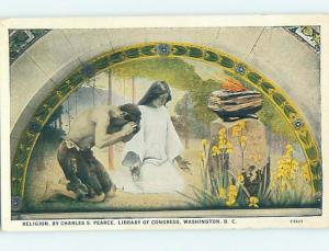 Unused W-Border POSTCARD OF PAINTING AT LIBRARY OF CONGRESS Washington DC hs2360