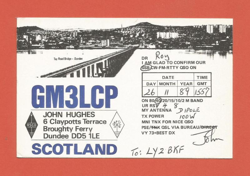 QSL AMATEUR RADIO CARD – DUNDEE, SCOTLAND – 1989
