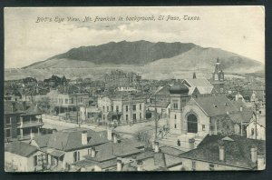 EL Paso Texas tx Bird's Eye View Mt Franklin in background 1908 postcard