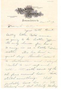 Mansard Hotel – Bowling Green KY – letterhead / letter - 1917 ?