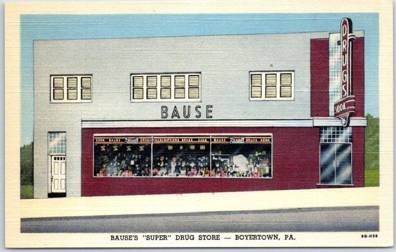 BOYERTOWN, Pennsylvania Postcard Bause's Drug Store Street View Curteich Linen