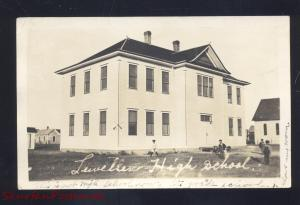 RPPC LEWELLEN NEBRASKA HIGH SCHOOL BUILDING VINTAGE REAL PHOTO POSTCARD 1921