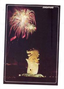 Fireworks, Night view of the Merlion, Entrance of Singapore river , SINGAPORE...