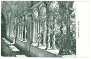 Italy, Saluti da Roma, Chiostro di S. Paolo, early 1900s unused Postcard