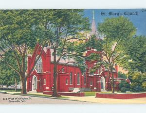 Unused Linen CHURCH SCENE Greenville South Carolina SC A8219