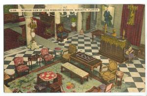 Interior view of John Ringling Mansion, Sarasota, Florida, unused linen Postcard