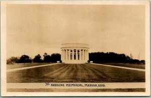 Marion,  Ohio RPPC Real Photo Postcard President HARDING MEMORIAL w/ Stamp