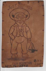 Iron Mountain Michigan~Just Arrived~Country Hick~Satchel~1906 Leather Postcard