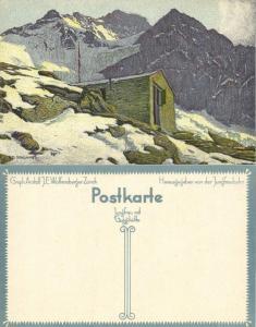 switzerland, Jungfrau mit Guggihütte, Artist Signed Ernst E. Schlatter (1910s)