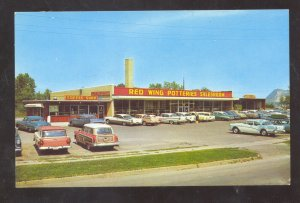 RED WING MINNESOTA RED WING POTTERY STORE VINTAGE ADVERTISING POSTCARD OLD CARS