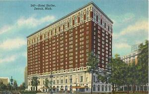 Linen Card of Hotel Statler Detroit Michigan MI