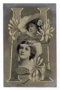b5492 - Stage Actress - Lily Hanbury with Honeysuckle, F132 - postcard - Tuck's