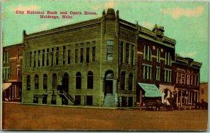 Holdrege, Nebraska Postcard City National Bank & Opera House Street View 1913