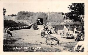 N.W. Nigeria Kano City Gate Walls, Donkeys, Carriage real photo