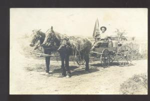 RPPC DIKE IOWA HORSE DRAWN SNIFFEN DELIVERY WAGON REAL PHOTO POSTCARD