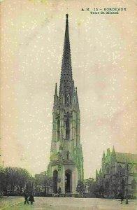 France Bordeaux Tour St-Michel Tower Church Postcard