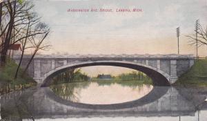 Scenic Waterfront View, Washington Ave. Bridge Reflected in Water, Lansing, M...