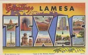 Texas Lamesa Greetings From Large Letter Linen Curteich