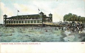 Cleveland Ohio~Gordon Park Bathing Beach~Pavilion~1906 Postcard